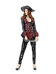 cheap -Pirate Women's Adults' Highschool Halloween Christmas Christmas Halloween Carnival Festival / Holiday Polyster Outfits Black Solid Colored Christmas