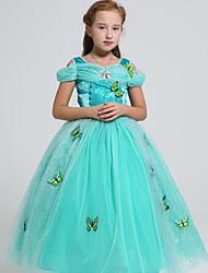 abordables -Déguisement Halloween Fille Princesse Jasmine Robe trapèze Halloween Costume de Cosplay Robe de demoiselle d'honneur Noël Halloween Carnaval Tulle Vert Costumes Carnaval