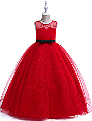 cheap -Ball Gown / Princess Maxi Flower Girl Dress - Tulle / Poly&Cotton Blend Sleeveless Jewel Neck with Bow(s) / Lace / Sash / Ribbon / Formal Evening