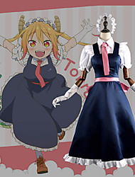 cheap -Inspired by Miss Kobayashi's Dragon Maid Cosplay Anime Cosplay Costumes Japanese Cosplay Suits Patchwork Dress / Gloves / Tie For Men's / Women's / Satin
