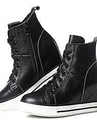 cheap -Women's Cowhide Fall & Winter Sneakers Hidden Heel White / Black