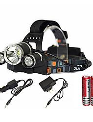 Недорогие -Налобные фонари Водонепроницаемый Перезаряжаемый 6000 lm LED излучатели 1 Режим освещения с батарейками и зарядным устройством Водонепроницаемый Масштабируемые Перезаряжаемый Очень легкие