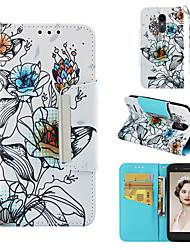 Недорогие -Кейс для Назначение LG LG K10 2018 Кошелек / Бумажник для карт / Флип Чехол Цветы Твердый Кожа PU