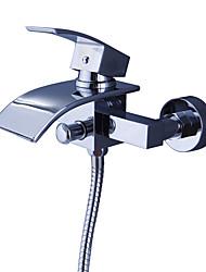 cheap -Shower Faucet / Bathtub Faucet - Contemporary Chrome Tub And Shower Ceramic Valve Bath Shower Mixer Taps / Brass / Single Handle Two Holes