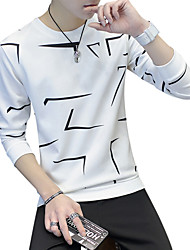 cheap -Men's Daily Going out T-shirt - Geometric Round Neck Black / Long Sleeve