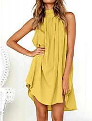 cheap -Women's Mini Yellow Green Dress Basic Daily Shirt Crew Neck S M / Cotton