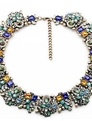 cheap -Women's Multicolor Necklace Thick Chain Stylish Classic Colorful Rhinestone Alloy Blue 47 cm Necklace Jewelry 1pc For Party Daily
