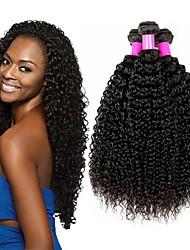 cheap -4 Bundles Kinky Curly Human Hair Unprocessed Human Hair Headpiece Natural Color Hair Weaves / Hair Bulk Hair Care 8-28 inch Black Natural Color Human Hair Weaves Creative Soft Classic Human Hair / 8A