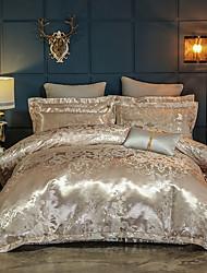 abordables -ensembles de housse de couette ensembles de literie de luxe en soie et coton mélangés à impression réactive 4 pièces queen