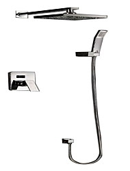cheap -Contemporary  with  Chrome Single Handle Four Holes  for Wall Mount