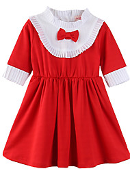 cheap -Kids Toddler Girls' Active Sweet Daily Holiday Solid Colored Color Block Bow Pleated Patchwork 3/4 Length Sleeve Knee-length Dress Red / Cotton