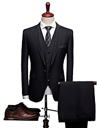 cheap -Black Patterned Tailored Fit Wool / Polyster Suit - Notch Single Breasted One-button / Single Breasted Two-buttons / Suits