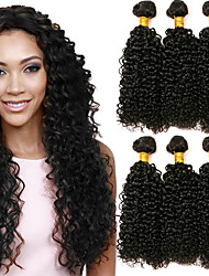 cheap -4 Bundles Brazilian Hair Kinky Curly Human Hair Wig Accessories Natural Color Hair Weaves / Hair Bulk Hair Care 8-28 inch Natural Color Human Hair Weaves Soft Silky Smooth Human Hair Extensions