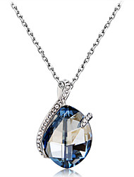 cheap -Women's Blue Crystal High End Crystal Pendant Necklace Classic Simulated Romantic Fashion Elegant Silver-Plated Imitation Diamond Austria Crystal Blue 50 cm Necklace Jewelry 1pc For Party / Evening