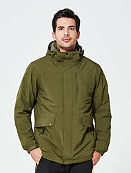 cheap -DZRZVD® Men's Waterproof Hiking Jacket Winter Outdoor Solid Color Thermal / Warm Waterproof Windproof Breathable Jacket 3-in-1 Jacket Waterproof Rain Proof Back Country Mountaineering Outdoor Black