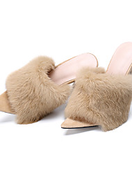 cheap -Women's Rabbit Fur / Suede Spring &  Fall / Spring & Summer Sweet / Minimalism Clogs & Mules Stiletto Heel Peep Toe Feather Yellow / Fuchsia / Almond