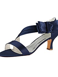cheap -Women's Satin Summer Wedding Shoes Chunky Heel Open Toe Bowknot Dark Blue / Party & Evening