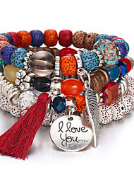 cheap -Women's Tassel Wrap Bracelet - Wings, Letter Vintage, Punk, Casual / Sporty Bracelet Dark Blue / Gray / Rainbow For Daily Evening Party / 4pcs