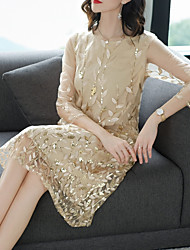 cheap -Women's 2020 Plus Size Blue Beige Dress Spring & Summer Daily Shift M L