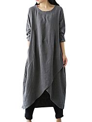 cheap -Women's Plus Size Asymmetrical Tunic Dress - Long Sleeve Solid Colored Basic Daily Loose Black Green Gray M L XL XXL XXXL XXXXL XXXXXL