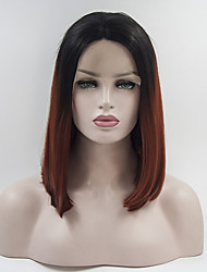 cheap -Synthetic Lace Front Wig Curly Middle Part Lace Front Wig Ombre Short Black / Red Synthetic Hair 12-16 inch Women's Adjustable Heat Resistant Elastic Ombre