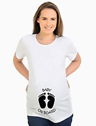 cheap -Women's Maternity Cartoon T-shirt Street chic Daily White