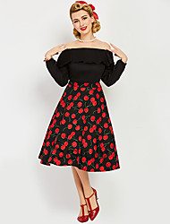 cheap -Audrey Hepburn Marilyn Monroe Polka Dots Retro Vintage 1950s Wasp-Waisted Tube Dress Women's Costume Black Vintage Cosplay Homecoming Long Sleeve Short Length