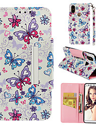 cheap -Case For Xiaomi Xiaomi A2 Wallet / Card Holder / Flip Full Body Cases Butterfly Hard PU Leather