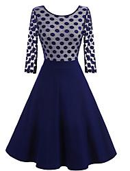 abordables -Audrey Hepburn Points Polka Rétro Vintage Années 50 Robe Femme Dentelle Coton Costume Noir Vintage Cosplay Manches 3/4 Mi-long