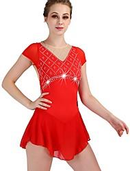 cheap -Figure Skating Rhinestone Bodysuit / Ice Skating Women's / Girls' Training Chinlon / Tulle Crystals / Rhinestones Short Sleeve High Dress