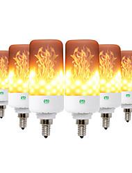 cheap -6PCS LED Flame Effect Fire Light Bulbs with 3 Modes Flame Lights E26 E27 E12 E14 B22 Base 5W Flickering Emulation Decor Lamp