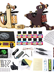 cheap -Tattoo Machine Starter Kit - 2 pcs Tattoo Machines with 10 x 5 ml tattoo inks LCD power supply Case Not Included 2 cast iron machine