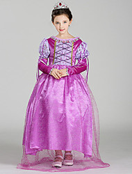 cheap -Belle Cosplay Costume Flower Girl Dress Kid's Girls' A-Line Slip Dresses Christmas Halloween Carnival Festival / Holiday Tulle Cotton Purple Carnival Costumes Princess