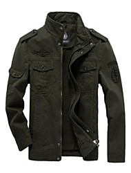 cheap -Men's Daily / Weekend Basic Fall / Winter Regular Jacket, Solid Colored Stand Long Sleeve Cotton Blend Black / Army Green / Khaki