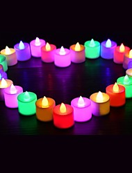 cheap -24pcs LED Candle Tea Light Battery Powered Lamp Simulation Color Flame Flashing Home Wedding Birthday Party Decoration Candles