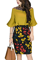 cheap -Women's Work Basic Flare Sleeve Blouse Print High Rise Skirt / Summer