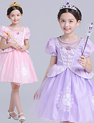 cheap -Sofia Cosplay Costume Flower Girl Dress Kid's Girls' A-Line Slip Active Halloween Christmas Halloween Carnival Festival / Holiday Silk Organza Purple / Pink Carnival Costumes Solid Colored / Cotton