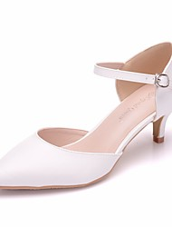 cheap -Women's PU(Polyurethane) Spring & Summer Minimalism Wedding Shoes Low Heel Pointed Toe Buckle White