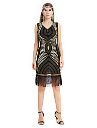 cheap -The Great Gatsby Charleston Retro Vintage 1920s Flapper Dress Dress Women's Sequin Costume Black+Sliver / Golden+Black Vintage Cosplay Party Event / Party Homecoming Sleeveless Knee Length Medium