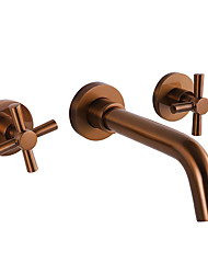 cheap -Bathroom Sink Faucet - Wall Mount / Widespread Rose Gold Wall Mounted Two Handles One HoleBath Taps