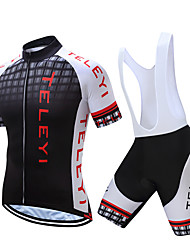 cheap -Men's Short Sleeve Cycling Jersey with Bib Shorts Polyester Black White Yellow Plaid / Checkered Bike Clothing Suit Quick Dry Moisture Wicking Sports Plaid / Checkered Mountain Bike MTB Road Bike