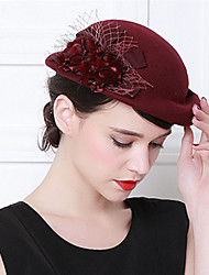 cheap -Elizabeth Audrey Hepburn Women's Adults' Ladies Retro Vintage Cloche Hat Fascinator Hat Black Red Coffee Flower Wool Headwear Lolita Accessories