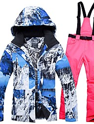 cheap -Women's Ski Jacket with Pants Winter Sports Windproof Warm Breathability Cotton POLY Denim Clothing Suit Ski Wear