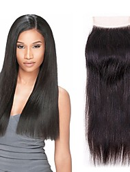 cheap -Brazilian Hair 4x4 Closure / Free Part Straight Free Part Swiss Lace Virgin Human Hair Women's Party / Classic / Natural Wedding Party / Date / Baby Shower / Black