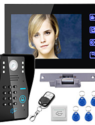 cheap -Wired 7 inch Hands-free One to One Video Doorphone Doorbell 960*480 Intercom System Kit Electric Strike Lock Wireless Remote Control Unlock Remote Control for Access Control System