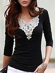 cheap -Women's Going out Weekend T-shirt - Embroidery Black & White V Neck White