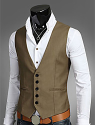 cheap -Men's Work Plus Size Vest, Solid Colored Fantastic Beasts Sleeveless Polyester Black / Brown / Navy Blue / Business Formal / Slim