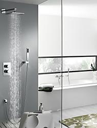 cheap -Shower Faucet - Contemporary Chrome Wall Installation Brass Valve Bath Shower Mixer Taps / Two Handles Four Holes