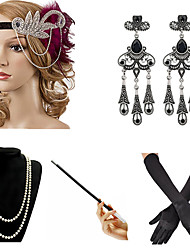 cheap -The Great Gatsby Charleston 1920s The Great Gatsby Costume Accessory Sets Flapper Headband Women's Tassel Costume Head Jewelry Pearl Necklace Black / Golden / Golden+Black Vintage Cosplay Party Prom