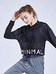 cheap -Women's V Neck See Through Cropped Hoodie & Sweatshirt Yoga Top Blouse Solid Color Elastane Zumba Yoga Running Hoodie Top Long Sleeve Activewear Breathable Quick Dry Sweat-wicking Micro-elastic Loose